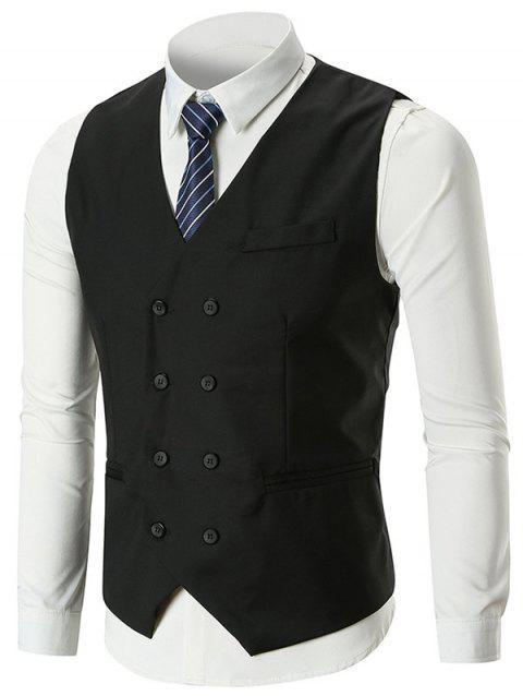 Belt Design Double Breasted Slim Fit Waistcoat - BLACK 2XL