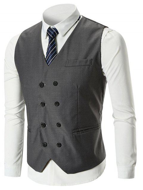 Belt Design Double Breasted Slim Fit Waistcoat - GRAY M