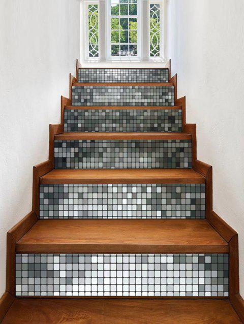 Square Grid Print Stair Stickers - multicolor 6PCS:39*7 INCH( NO FRAME )