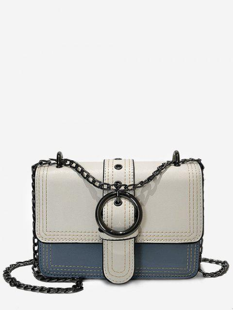 Stitching Flapped Metal Chain Chic Crossbody Bag - BLUE HORIZONTAL