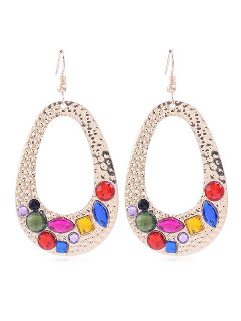 Unique Colored Rhinestone Inlaid Metal Drop Earrings - multicolor