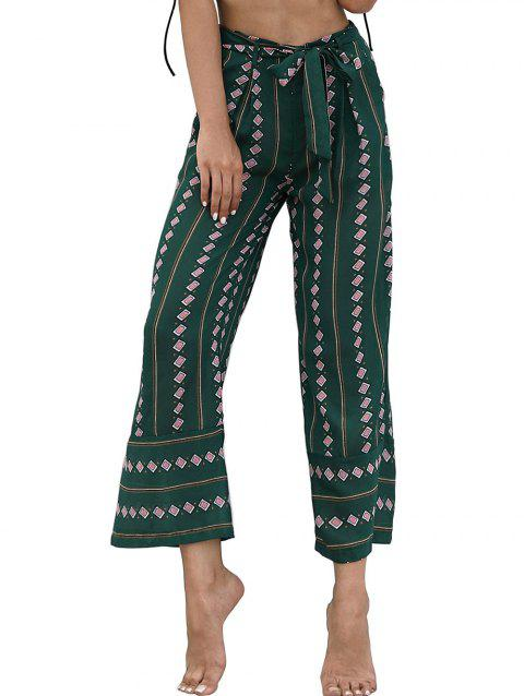 High Waist Printed Wide Leg Pants - GREEN XL