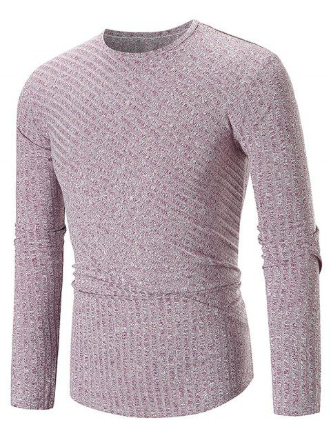 Solid Color Texture Splicing Long Sleeve T-shirt - PURPLE M