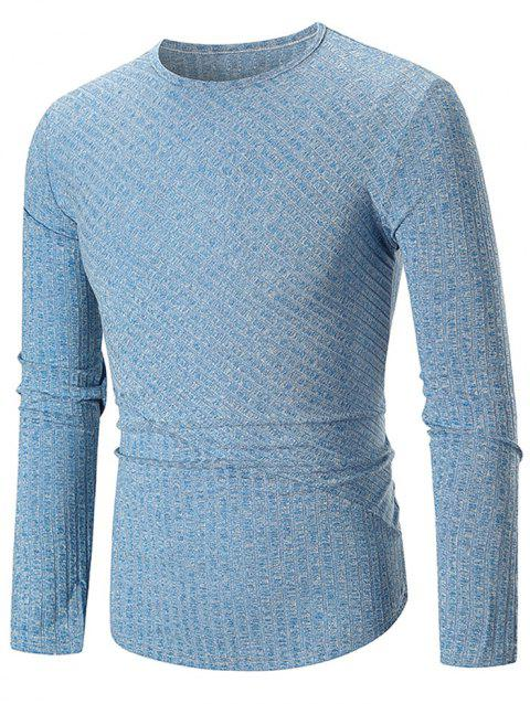 Solid Color Texture Splicing Long Sleeve T-shirt - BLUE XL