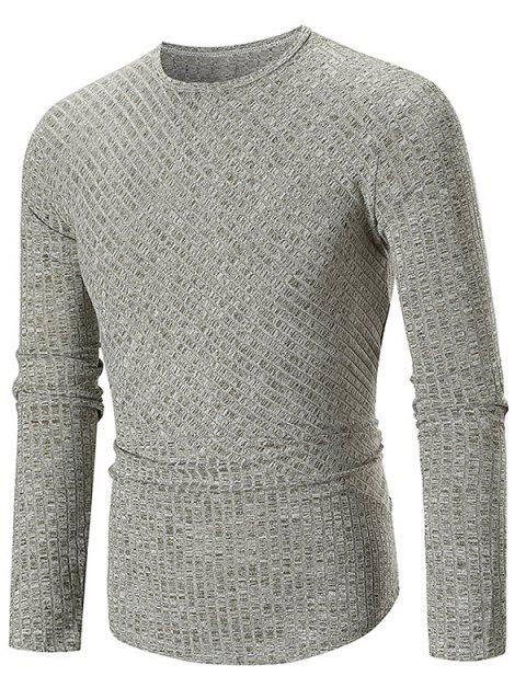 Solid Color Texture Splicing Long Sleeve T-shirt - GREEN L