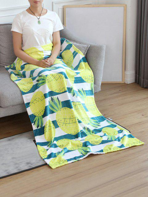 Pineapple Pattern Flannel Soft Bed Blanket - multicolor W59 INCH * L79 INCH