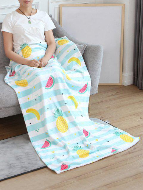 Pineapple Banana Watermelon Pattern Flannel Soft Bed Blanket - multicolor W31 INCH*L59 INCH