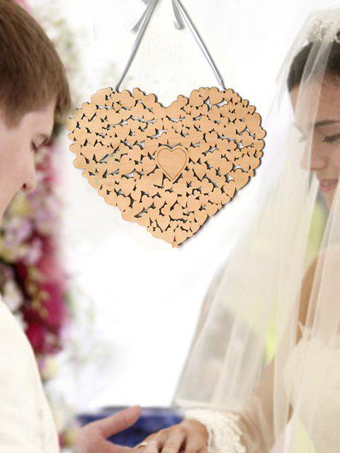 Wood Sign Heart Message Board Wedding Decoration Set - CORNSILK
