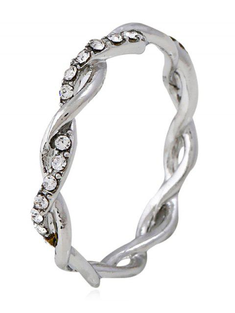 Rhinestone Decoration Twist Ring - SILVER 7