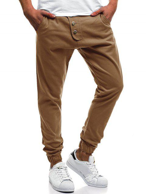 Button Decor Elastic Cuffed Drawstring Casual Jogger Pants - DARK KHAKI M