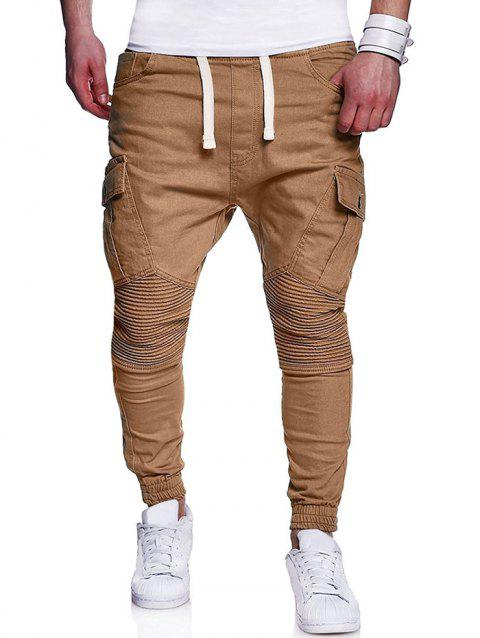 Pleats Design Elastic Cuffed Drawstring Cargo Pants - LIGHT KHAKI M