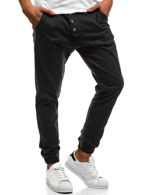 Button Decor Elastic Cuffed Drawstring Casual Jogger Pants - BLACK XL