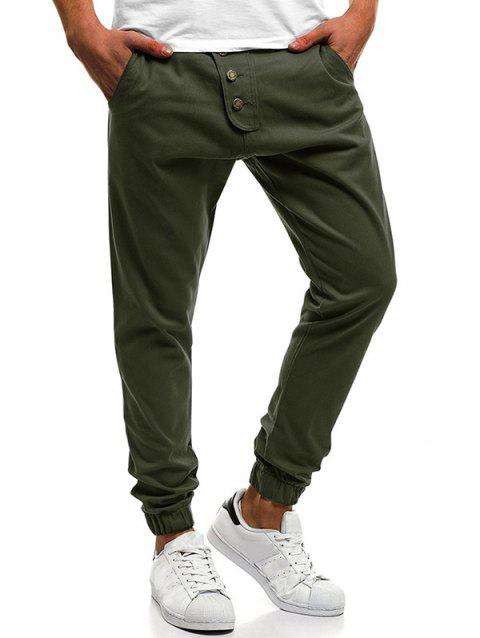 Button Decor Elastic Cuffed Drawstring Casual Jogger Pants - ARMY GREEN L