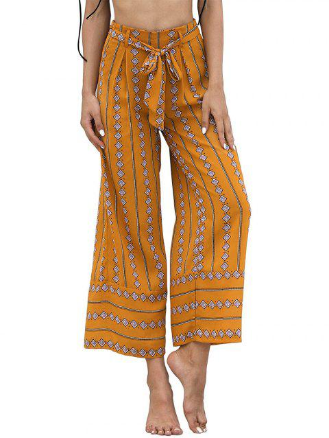 High Waist Printed Wide Leg Pants - YELLOW M
