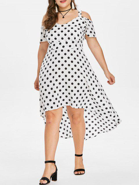 Polka Dot Cold Shoulder Plus Size Dress - WHITE 1X