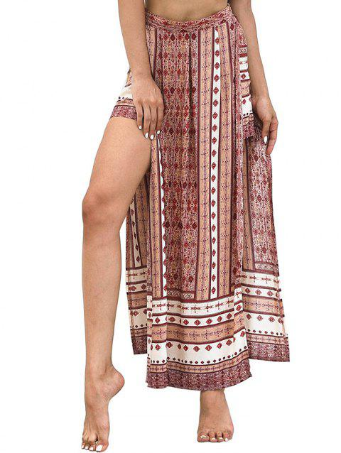 High Waist Bohemian Slit Skirt - multicolor L