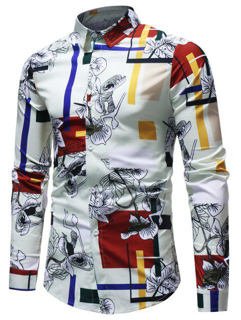 Rectangle Floral Printed Button Up Shirt - multicolor L