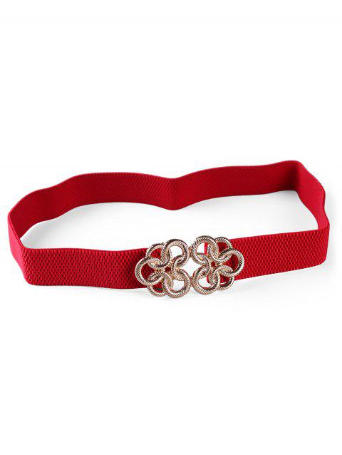 Unique Knitting Pattern Metal Buckle Elastic Waist Belt - RED
