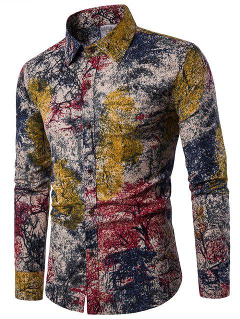 Button Up Tree Ink Painting Printed Shirt - RED 2XL