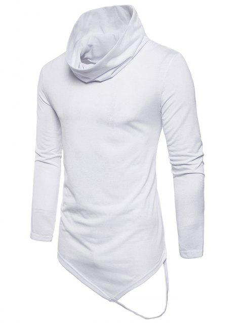 Cowl Collar Anomalous Hem Tee Shirt - WHITE 2XL