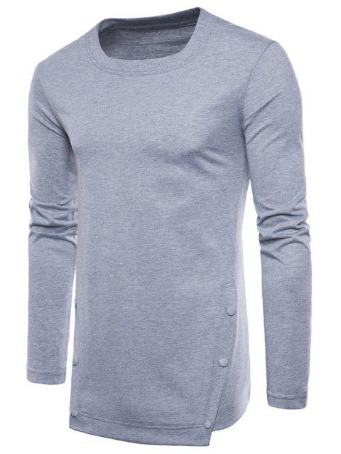 Casual Irregular Hem T-shirt with Buttons - LIGHT GRAY 2XL