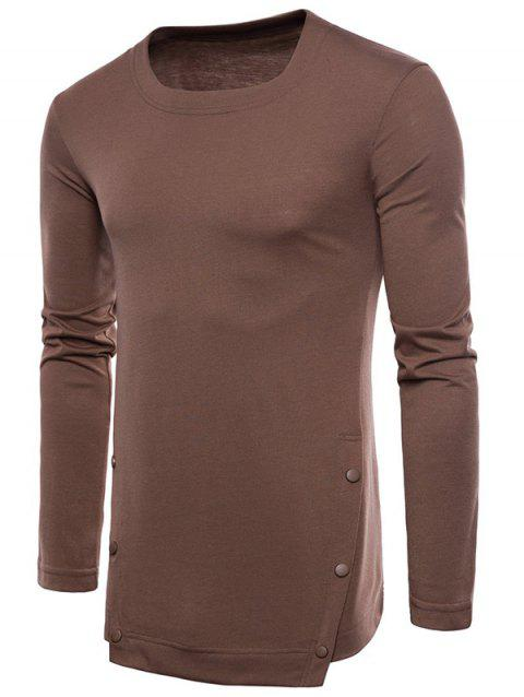 Casual Irregular Hem T-shirt with Buttons - DEEP COFFEE XL