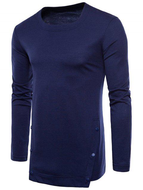 Casual Irregular Hem T-shirt with Buttons - CADETBLUE 2XL