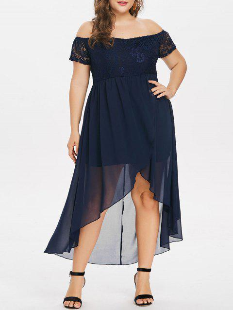 Plus Size Lace Insert Off The Shoulder Dress - MIDNIGHT BLUE 1X