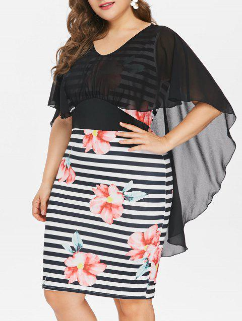 Plus Size Knee Length Mesh Popover Dress - BLACK 1X
