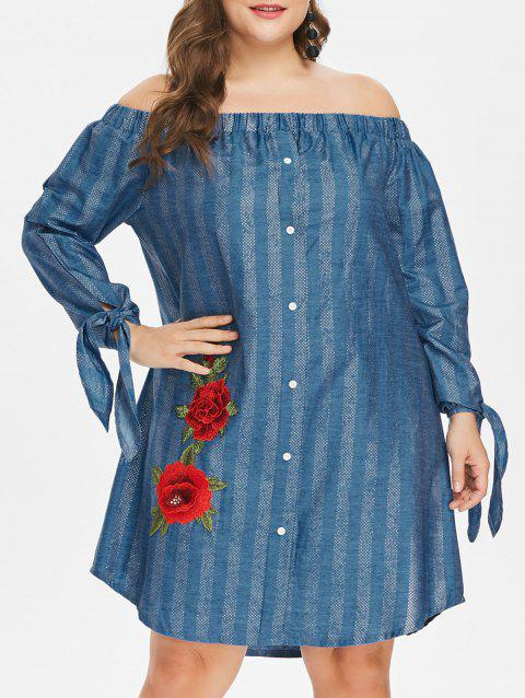 Plus Size Floral Embroidery Dress - DENIM BLUE 3X