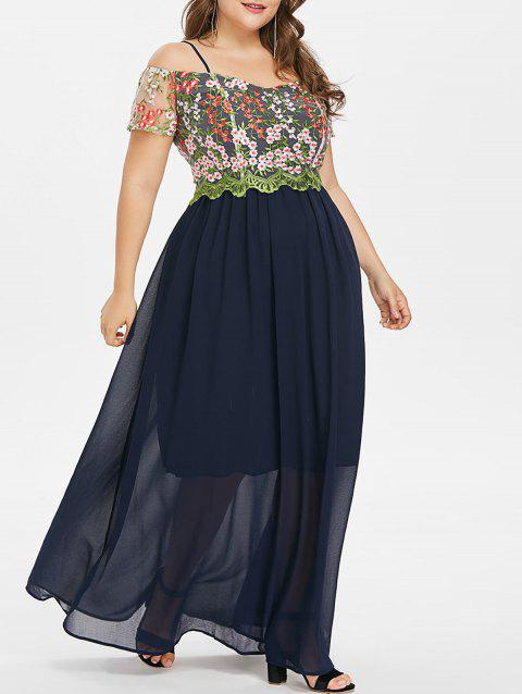 Plus Size Embroidery Spaghetti Strap Dress - CADETBLUE 5X