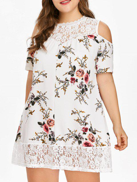 Plus Size Flower Lace Tunic Dress - MILK WHITE 5X