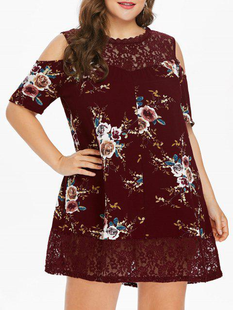 Plus Size Flower Lace Tunic Dress - RED WINE 2X