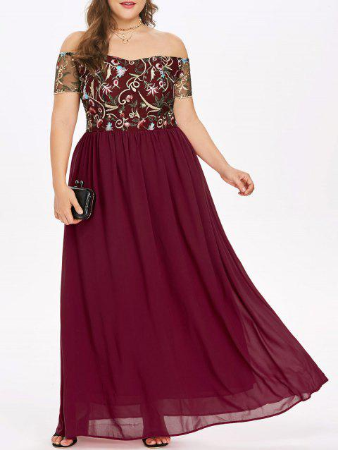 Elastic Waist Plus Size Embroidery Maxi Dress - RED 2X