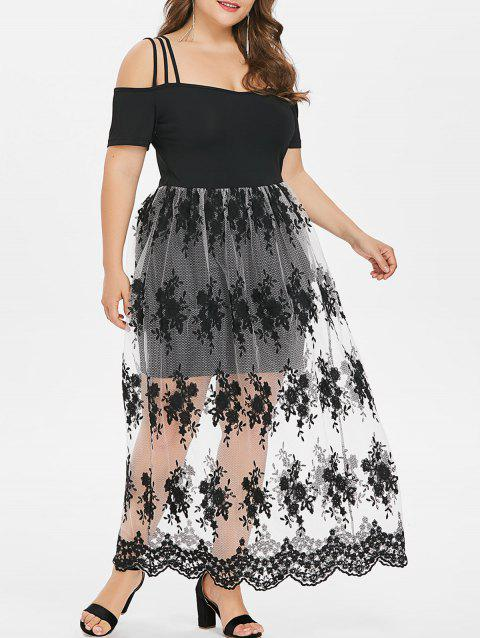 Plus Size Embroidery See Thru Strappy Dress - BLACK 3X