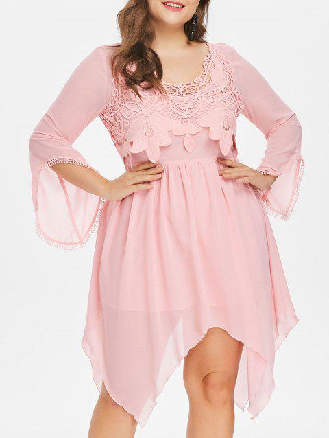 Plus Size Lace Panel Handkerchief Dress - LIGHT PINK L