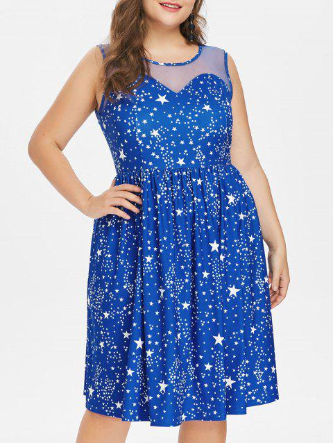 Plus Size Sleeveless Star Knee Length Dress - BLUE 1X
