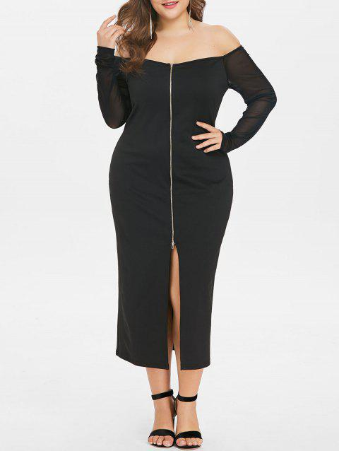Plus Size Front Split Off The Shoulder Dress - BLACK 4X