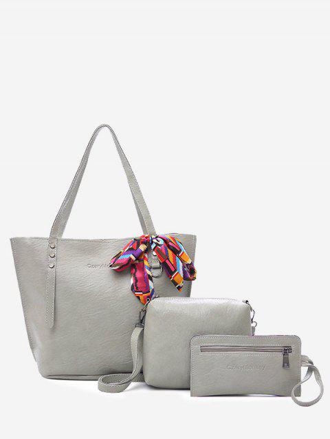 Casual Vacation Minimalist Bow 3 Pieces Shoulder Bag Set - LIGHT GRAY