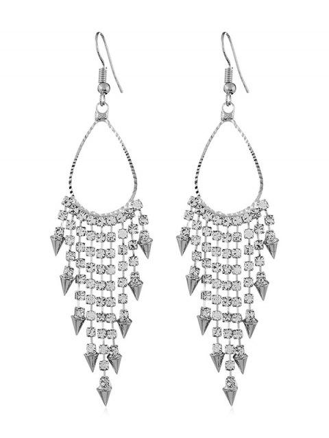 Shiny Rhinestone Alloy Triangle Fringed Hook Earrings - SILVER
