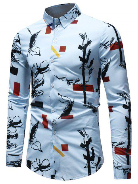 Casual Geometrical Ink Painting Print Shirt - multicolor XS