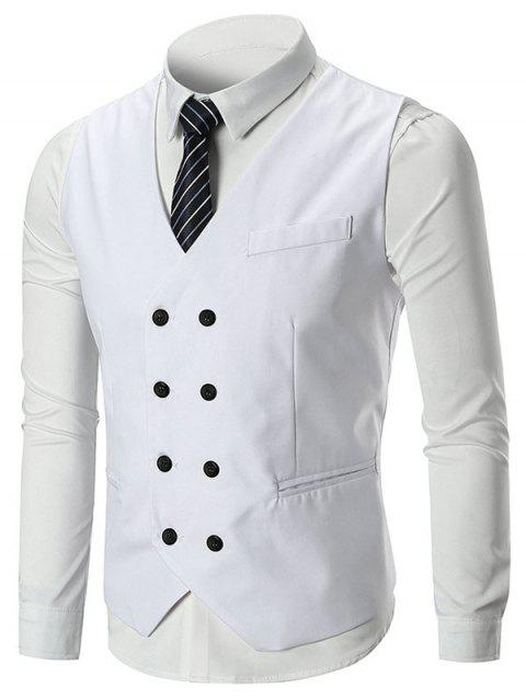 Belt Design Double Breasted Slim Fit Waistcoat - WHITE L