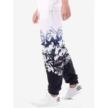 High Rise Drawstring Printed Jogger Pants - WHITE L