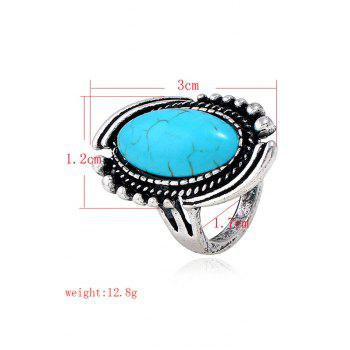 Oval Design Artificial Gemstone Decoration Ring - SILVER 8