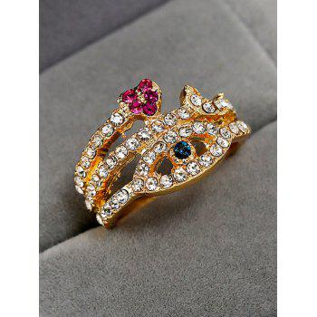 Rhinestone Decoration Heart Design Ring - GOLD RESIZABLE