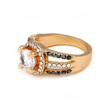 Rhinestone Decoration Hollow out Alloy Ring - GOLD 7