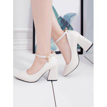 Chunky Heel Buckled Chic Pointed Toe Party Pumps - BEIGE 34