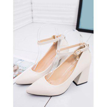 Chunky Heel Buckled Chic Pointed Toe Party Pumps - BEIGE 39