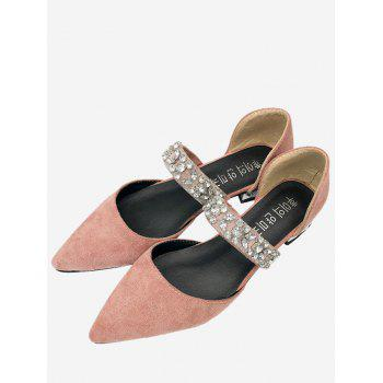 Dazzling Rhinestone Chic Slip On Flats - LIGHT PINK 38