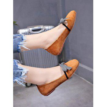 Casual Shopping Bowknot Plaid Chic Flats - BEE YELLOW 38